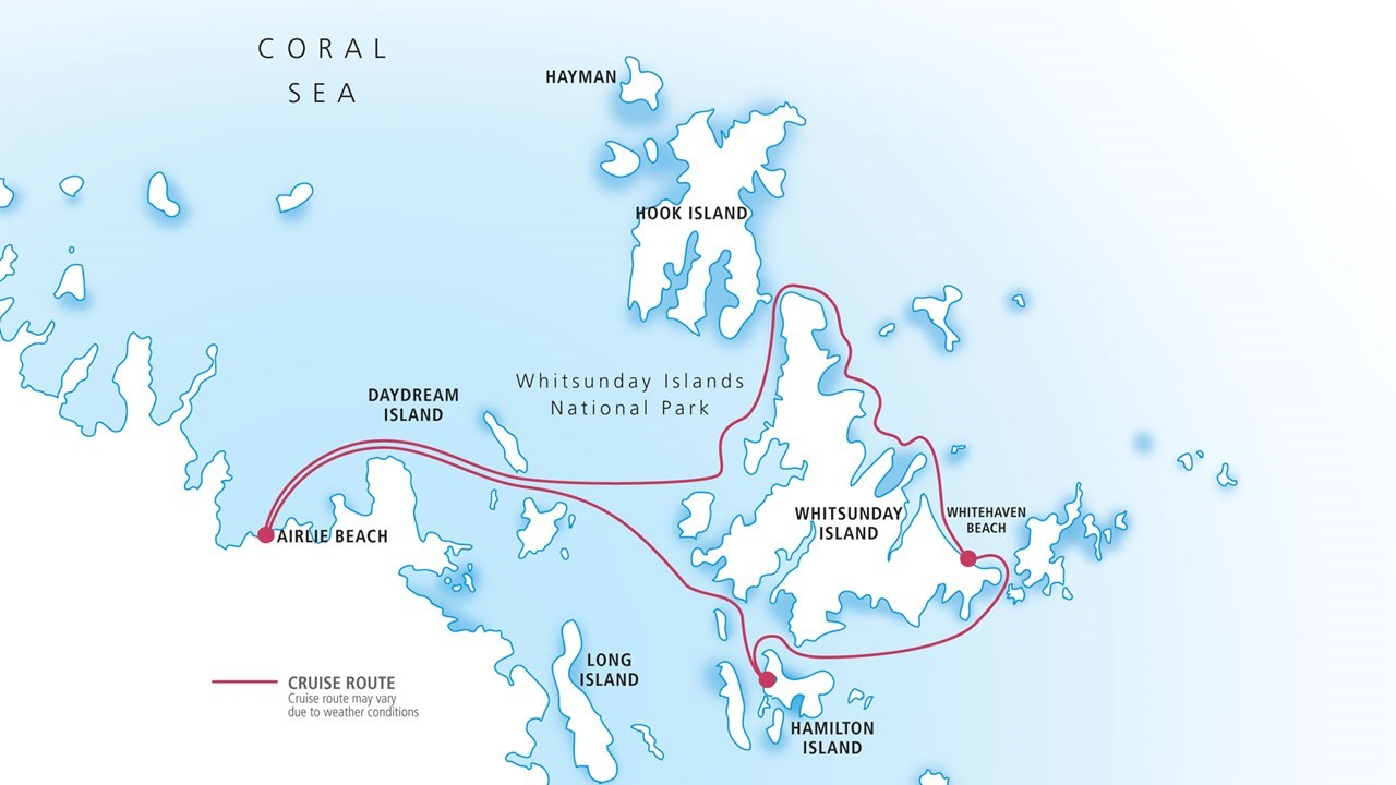 Map of the Whitsundays, Hamilton Island and Whitehaven Beach tour
