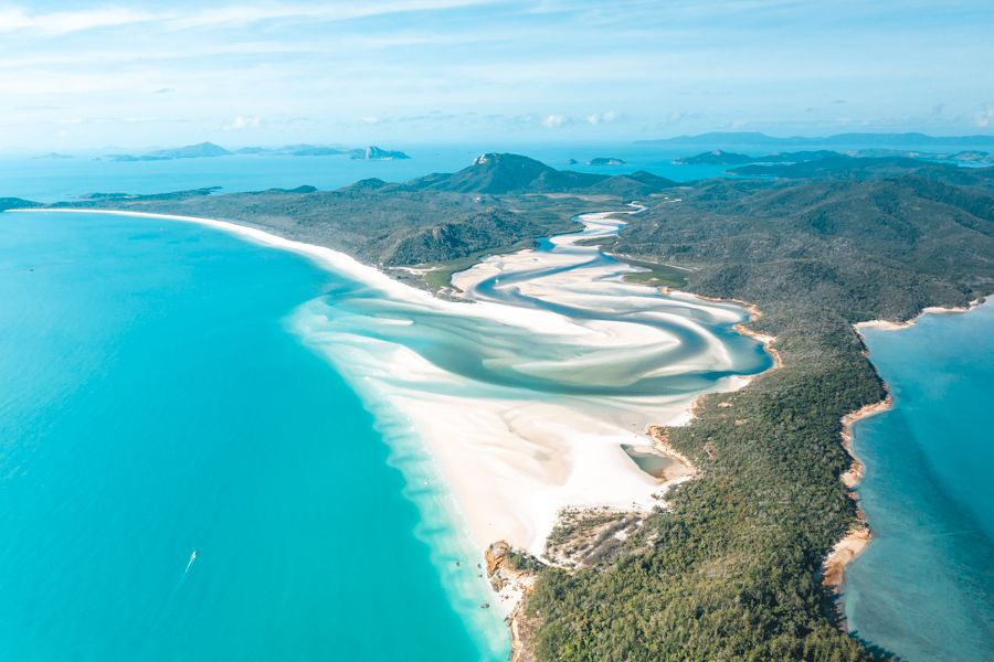 whitehaven beach, aerial, hill inlet