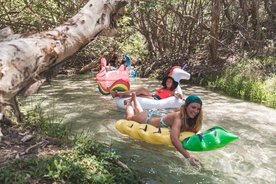 Eli Creek, Inflatables, Floating, Fraser Island