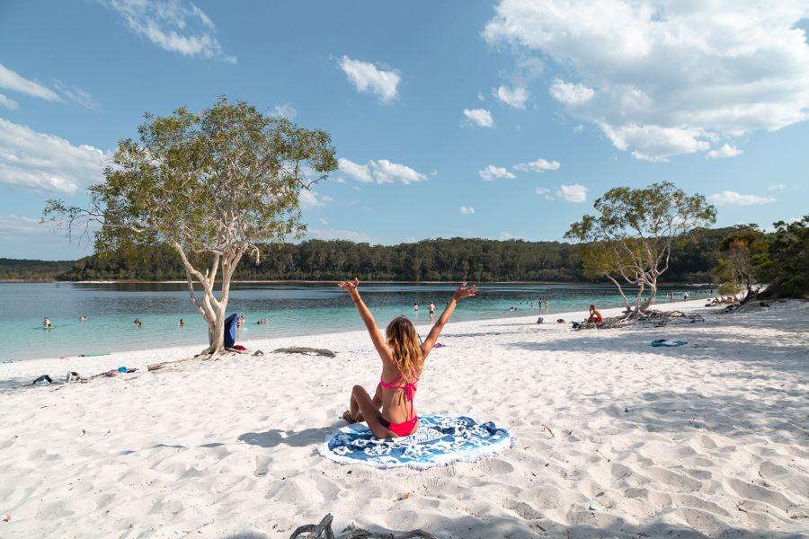 Lake Mckenzie Fraser Island sitting on the white sand