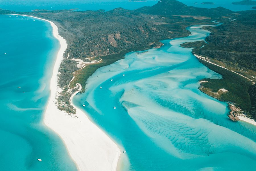 Whitehaven Beach Swirling Sands, from above