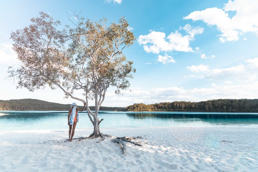 Fraser Island, Lake Mckenzie Girl standing near famous tree