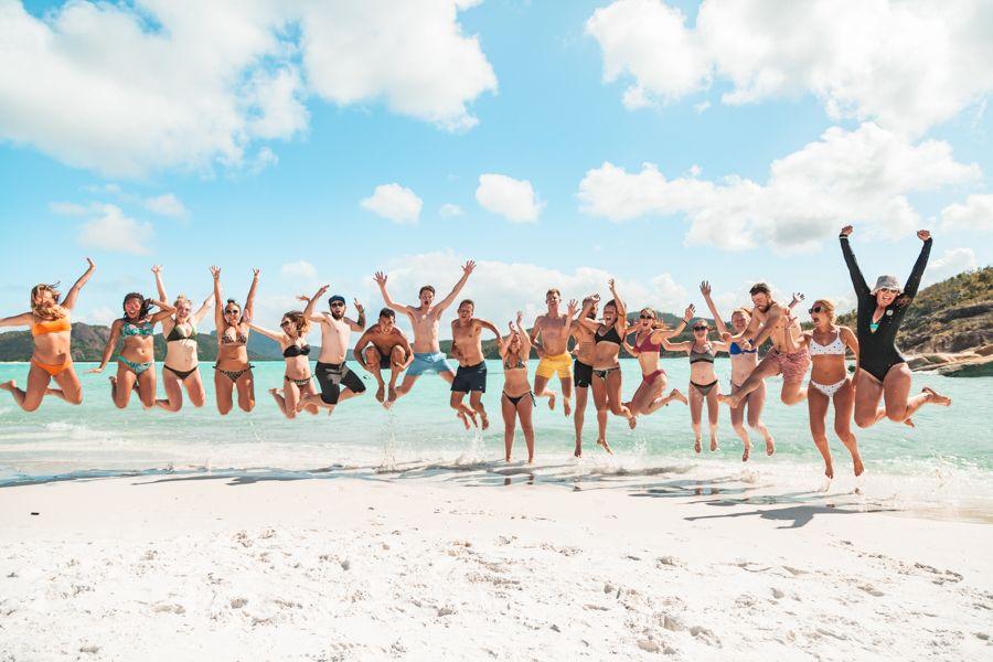 Whitehaven Beach group jump shot