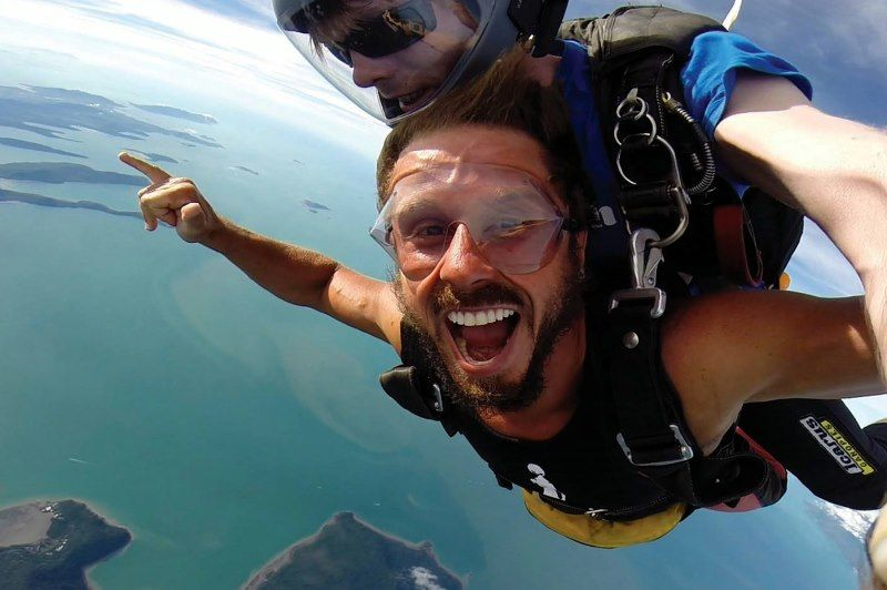 Sky dive over the Whitsundays