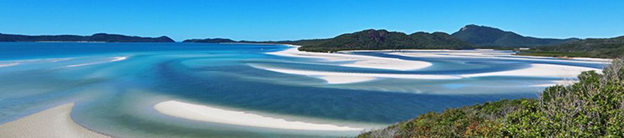 Whitehaven Beach swirling sands from Hill Inlet Lookout, the Whitsundays