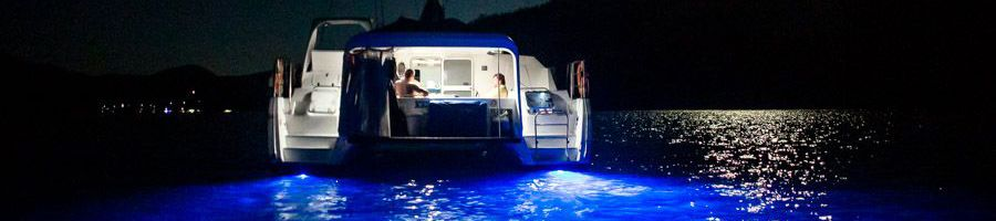 underwater blue lights Adventurer aft hull, Great Barrier Reef
