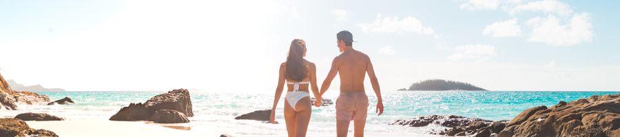 Whitehaven Beach Couple Silica Sands